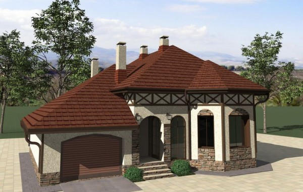 Проект одноэтажного дома с мансардой и 3 спальнями