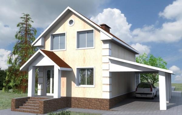 Проект одноэтажного дома с мансардой, 2 спальни