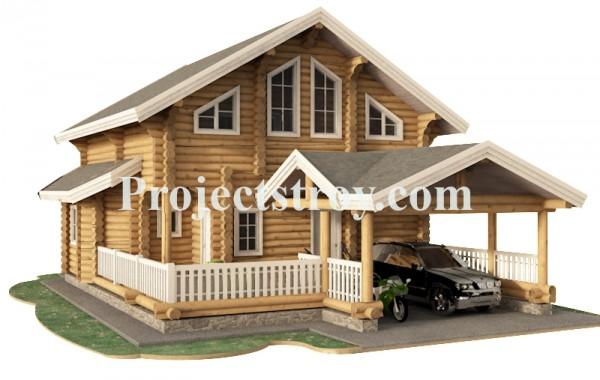 Дом из бревна 260 мм с навесом под авто - сауной