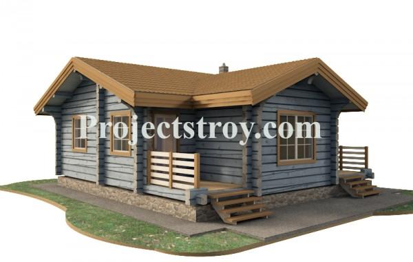 Одноэтажный деревянный дом из лафета с баней