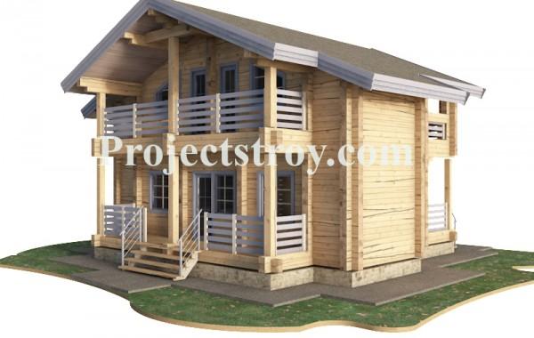 Деревянный дом из бруса клееного 9.8 х 9 метров.