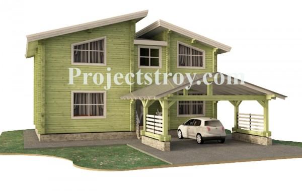 Дом из бруса с навесом под авто из поликарбоната