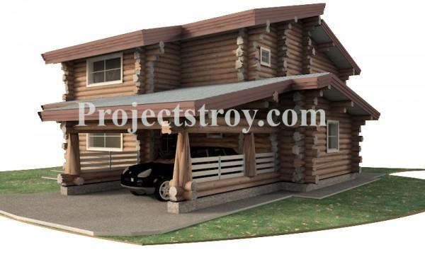 Дикий сруб - проект дома из бревна 280 мм