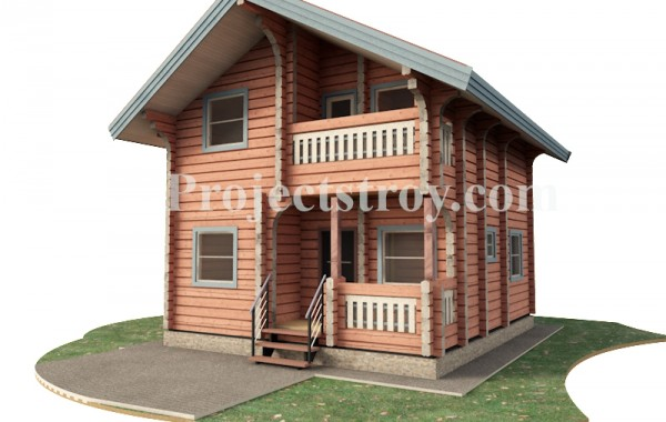 Проект дома из лафета 6.5 х 7.5 м