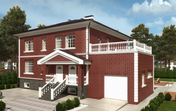 Проект коттеджа с гаражом и террасой.