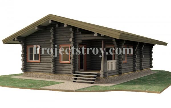 Одноэтажный дом из бревна 11.1 х 8.1 - 76 кв. м