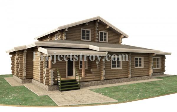 Проект дома из рубленого бревна 20 х 14 м