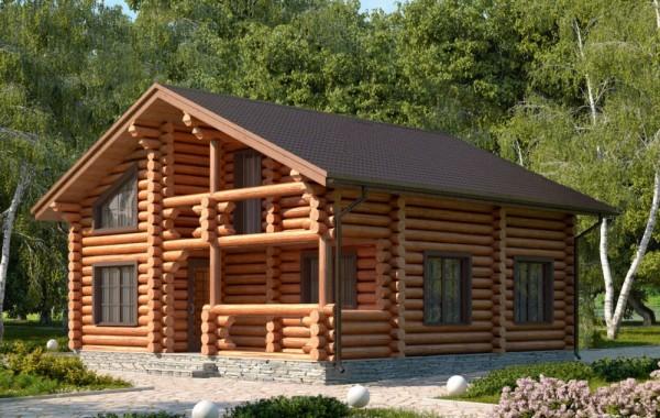 Проект бревенчатого дома AM-2001