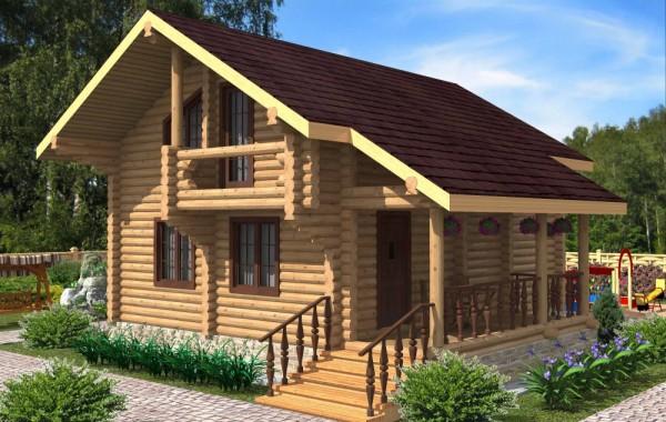 Проект бревенчатого дома AM-2004
