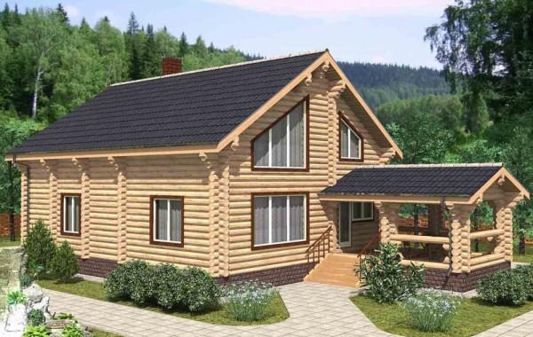 Проект бревенчатого дома AM-2016
