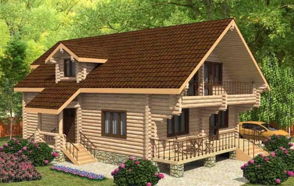 Проект бревенчатого дома AM-2018