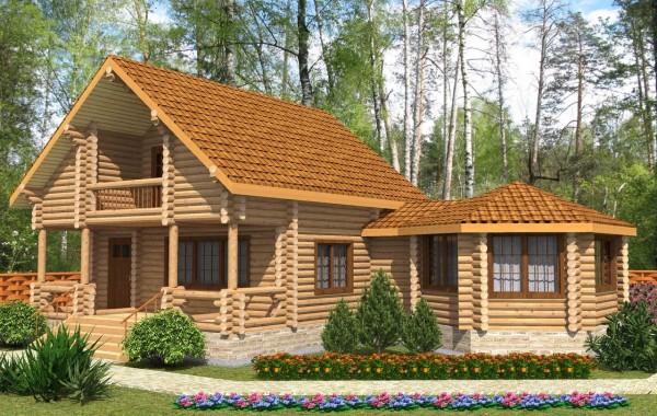 Проект бревенчатого дома AM-2020