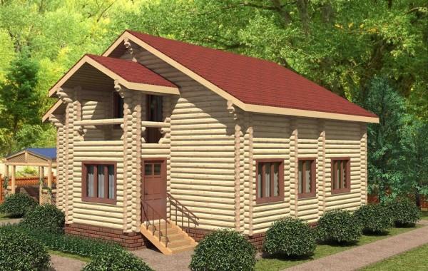 Проект бревенчатого дома AM-2022