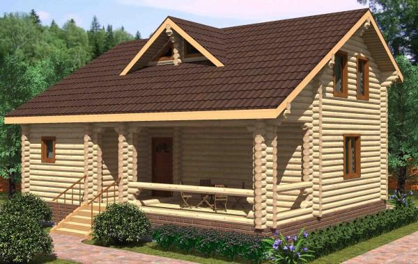 Проект бревенчатого дома AM-2027