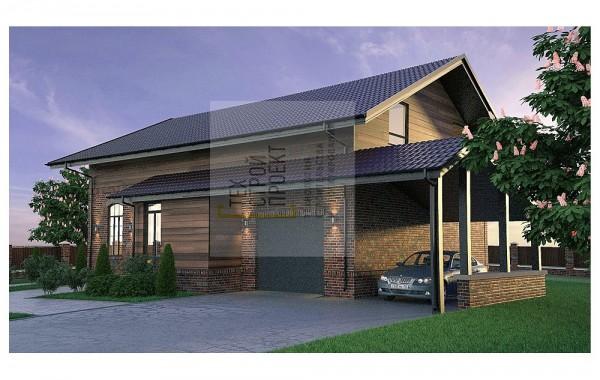 Яркий двухэтажный дом классической конфигурации
