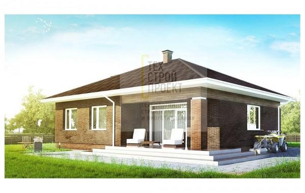 Одноэтажный дом с комбинированной отделкой