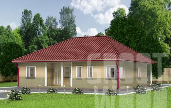 Одноэтажный дом 12 х 12 м, 144 кв. м.