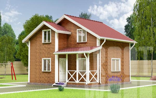 Полутораэтажный дом 7 х 7 м, 93 кв. м.