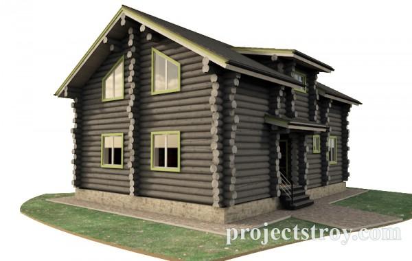 Деревянный дом из бревна 9.5 х 12 м