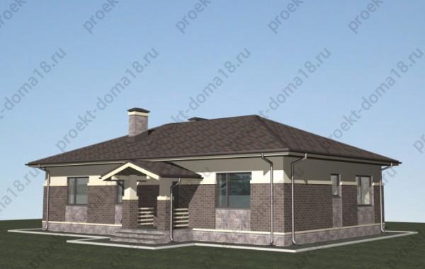 Проект одноэтажного дома из газобетона  А-07-19