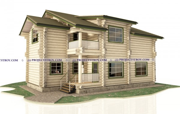 Дом из бревна 12.9 х 12.4 м