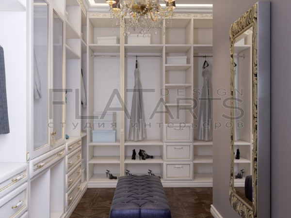 Дизайн дома 350 кв.м в стиле арт-деко. Гардеробная