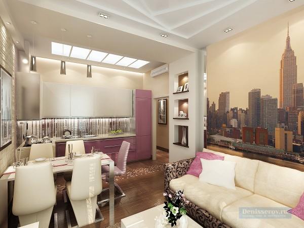Гостиная - кухня 20 кв. м в современном стиле с балконом - лоджией.