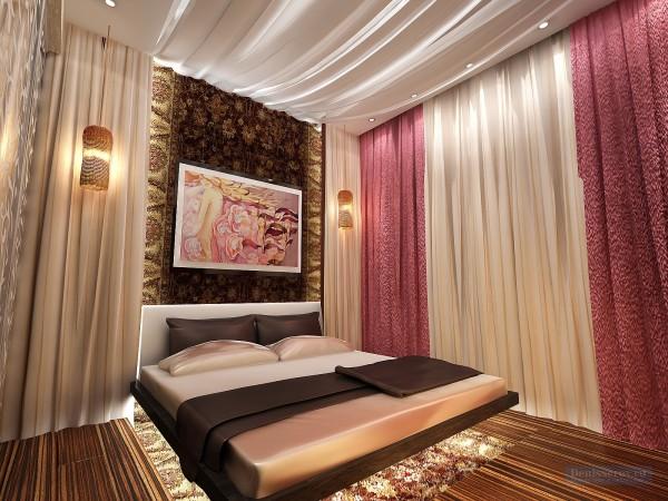 Спальная комната 16 кв. м для молодой девушки.