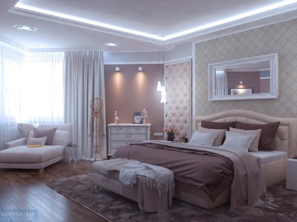 Спальная комната 20 кв. м в классическом стиле для супружеской пары средних лет.