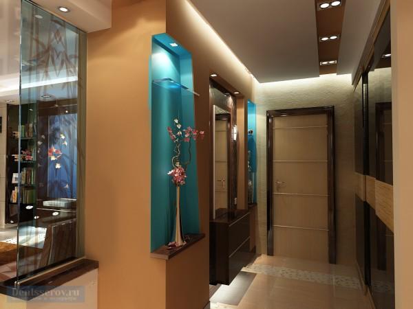 Прихожая, примыкающая к гостиной, выполненной в современном стиле.