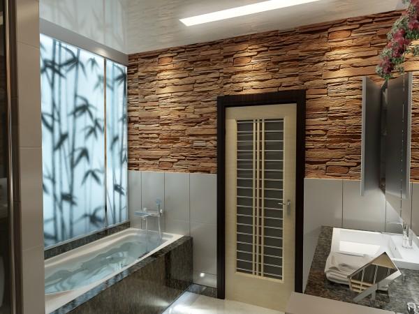 Ванная комната 8 кв. м в современном стиле.
