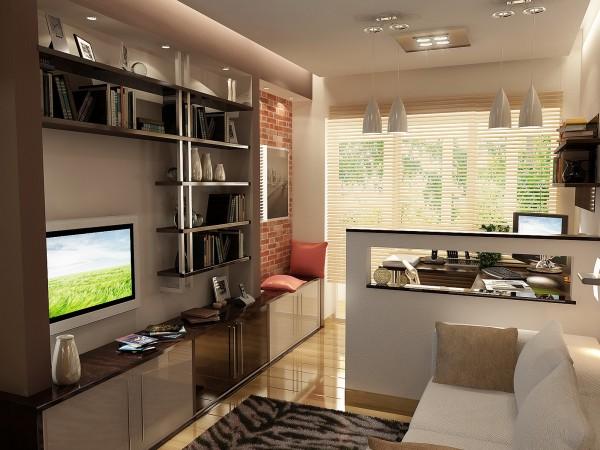 Детская комната 18 кв. м в современном стиле для сына - студента.