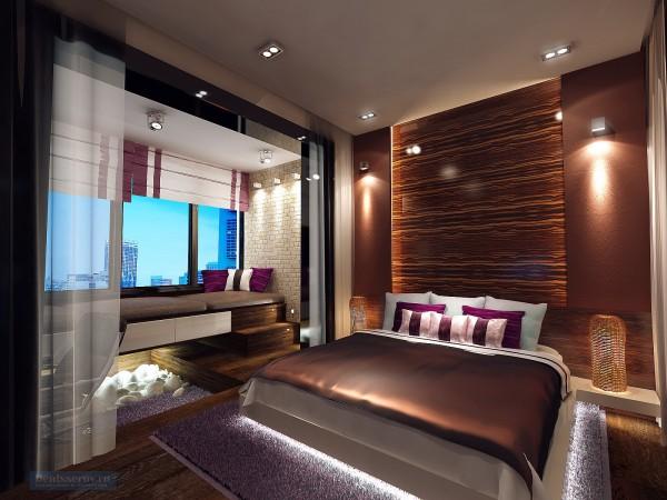 Спальная комната 18 кв. м в современном стиле для молодой пары.