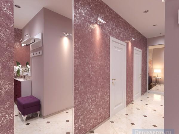 Прихожая и коридор 16 кв. м в современном классическом стиле.