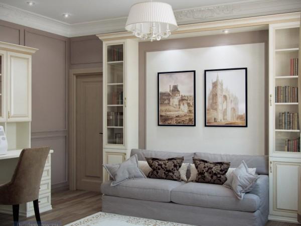 Гостевая комната 12 кв. м в загородном коттедже, выполненная с использованием классического стиля.