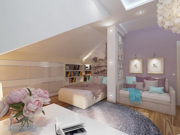 Детская комната для девочки-подростка в мансардном помещении.