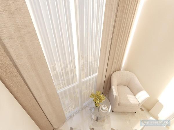Балкон в однокомнатной квартире классического стиля для мамы