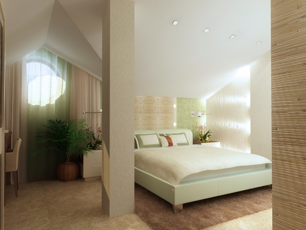 Спальная комната 16 кв. м в частном загородном доме,  эко-стиль