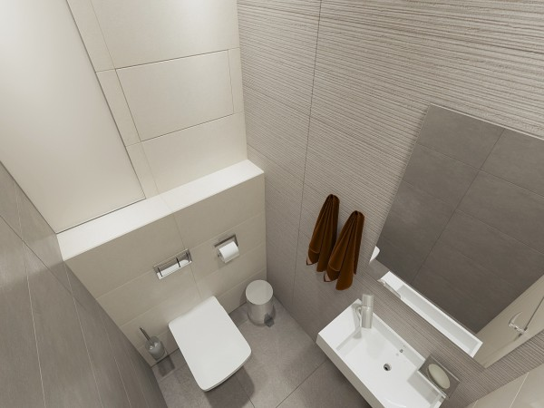 Туалетная комната 4 кв. м в современном стиле