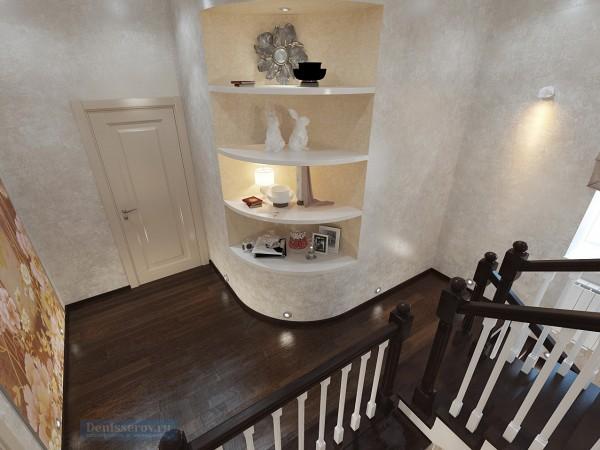 Лестница в загородном коттедже классического стиля