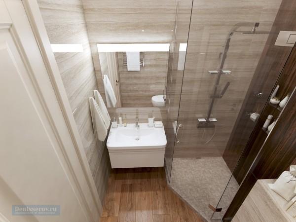 Душевая 5 кв. м в трехкомнатной квартире, классический стиль