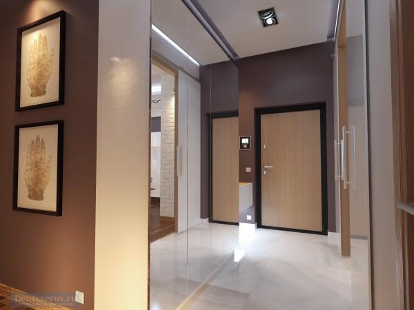 Прихожая 7 кв. м в двухкомнатной квартире, современный стиль