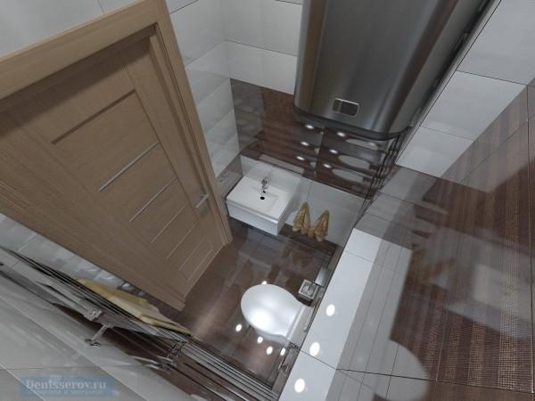 Туалет для гостей 1 кв. м в двухкомнатной квартире, современный стиль