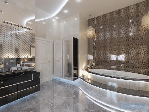 Ванная в трехкомнатной квартире, современный классический стиль