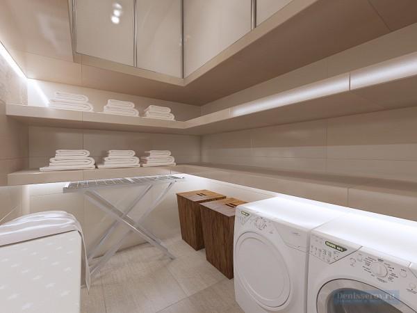 Постирочная в трехкомнатной квартире, современный классический стиль