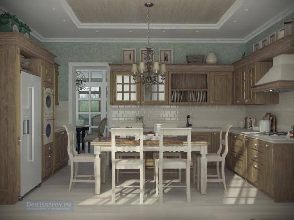 Кухня на первом этаже загородного дома