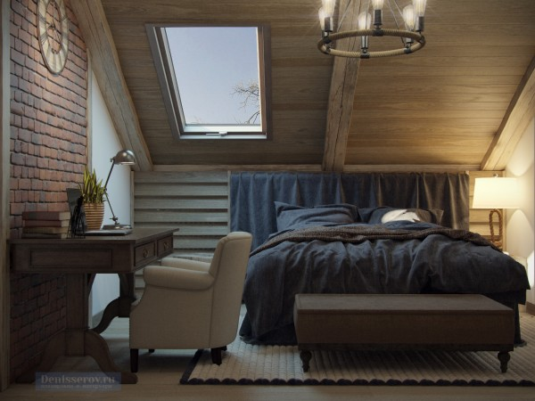 Спальня в мансарде загородного дома, стиль прованс