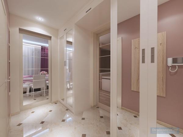 Коридор в однокомнатной квартире, современный стиль