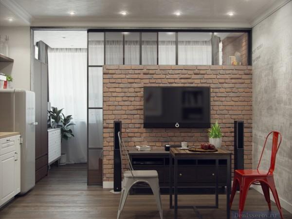Гостиная-кухня 12 кв. м в современном стиле