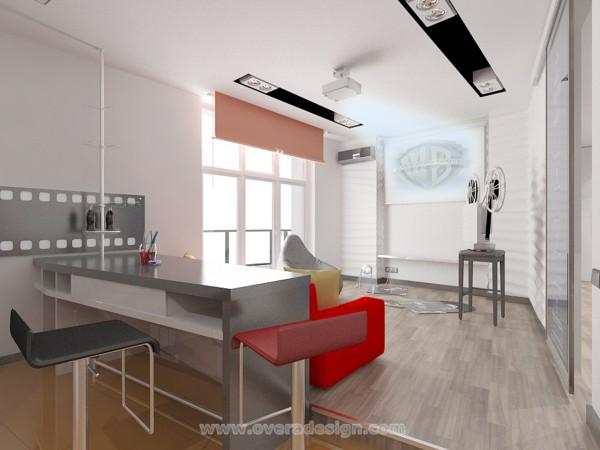дизайн-проект 45 кв.м студия для кинолюбителя